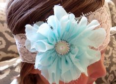 This beautiful handcrafted baby headband features a light blue chiffon flower with elegant pearl embellishment. The flower measures