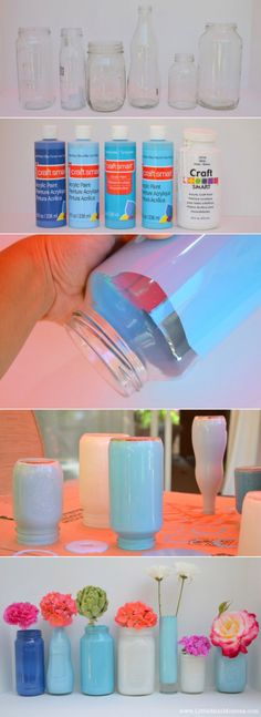 Mason jar Painted Vases -Found some jars for free at yard sale turned out so cute! HINT: Dont leave in the sun to dry the paint gets too hot and runs off