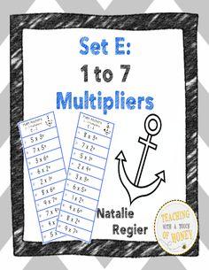 Multiplication Anchors Set E: 1 to 7 Multipliers #editableprintables #freeprintables