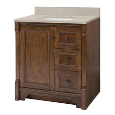 Home Decorators Collection Creedmoor 31 in. W x 22 in. D Vanity Cabinet in Walnut with Engineered Marble Vanity Top in Snowstorm with White Sink - The Home Depot Quartz Vanity Tops, Granite Vanity Tops, Marble Vanity Tops, Bathroom Vanity Tops, Bathroom Ideas, Bathroom Remodeling, Remodeling Ideas, Master Bathroom, Basin Cabinet