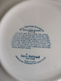 Back of Vintage Souvenir Plate 'Buffalo Ranch Oklahoma' Fine American Ironstone by Enco National New York. Made in the USA. Underglaze, Detergent and Oven Proof. On US 66 Located one mile from the Afton exit of the Oklahoma turnpike.