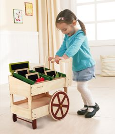 Kids Wooden Toys EverEarth Organic Fruit and Vegetable Cart Lime Tree Kids