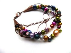 Pearl and Copper multi strand bracelet, pearl jewelry, copper metal | mckeejewelrydesigns -http://www.mckeejewelrydesigns.com/  Andria McKee, McKee Jewelry,  McKee Jewelry Designs,   Hand made jewelry, jewellery