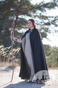 """Black Woolen Cloak """"Labyrinth"""" for sale. Available in: black wool, dark blue wool, green wool :: by medieval store ArmStreet Medieval Costume, Medieval Dress, Medieval Fantasy, Medieval Boots, Renaissance Costume, Medieval Armor, Costume Roi, Traje Casual, Labyrinth"""