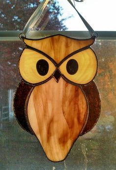 Stained Glass Owl Suncatcher  Bird  Window by StainedGlassYourWay
