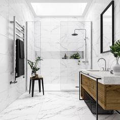 Mont Blanc white marble effect matt wall and floor tile x can find Marble bathrooms and more on our website.Mont Blanc w. Marble Tile Bathroom, White Marble Bathrooms, Marble Showers, Bathroom Flooring, Marble Tiles, White Marble Flooring, Marble Wall, Bathroom Porcelain Tile, Marbel Bathroom
