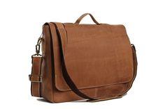 Vintage Leather Briefcase Messenger Bag, 14'' Laptop Bag, Men's Bag 7108
