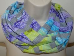 grey lime blue and purple striped infinity by byJuliasDesigns