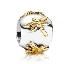 Gold and Silver Pandora dragonfly charm!