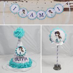 Mermaid 1st Birthday Smash Cake Photo Props by PartyDecorandMoore