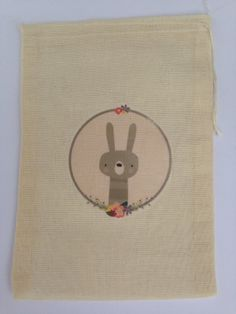 12 x  Printed Rabbit Cotton Muslin Gift Favour Bag - approx 5x7 inches (12.75x17.75 cm) in size
