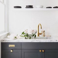 """1,738 Likes, 21 Comments - Waterworks (@wtrwrks) on Instagram: """"Black + white + unlacquered brass = simply chic. Henry in a kitchen by @grantkgibson.…"""""""