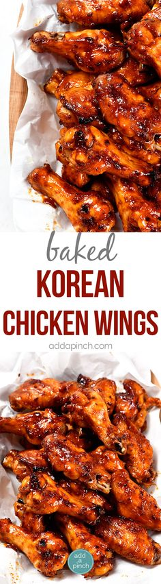 Baked Korean Chicken Wings Recipe - Chicken Wings are always a favorite appetizer, snack, or even an entree! These sweet and spicy baked Korean chicken wings will quickly become a favorite for all of your gatherings! Korean Chicken Wings, Asian Wings, Korean Bbq Wings Recipe, Healthy Wings Recipe, Korean Bbq Sauce, Bbq Chicken Wings, Recipe Chicken, Chicken Recipes, Chicken Wing Sauces