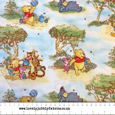Disney's Winnie the Pooh and Friends Nursery Scenic on White Cotton Fabric by Springs Creative Fabrics.Available in Fat Quarters and Per Metre.£3.75 per FQ / £15 per metre.100% Cotton.When ordering multiple fat quarters fabric is cut in a continuous piece.If you would like more than a fat quarter please order multiples as per the guide below. It will be cut as a single length if multiples are ordered.Qty 1: Fat quarter: 55cm x 50cmQty 2: Half Metre: 110cm x 50cmQt...