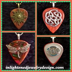 Wooden Guitar Pick Treasures! Pendants: Gold Sun Dark Wooden Pick $25, Round Celtic Knot Dark Wooden Pick $25, Silver Music Notes Silver and Dark Wooden Pick $25, Silver Dragonfly Candy And Dark Wooden Pick $25 - Purchase on our Website!