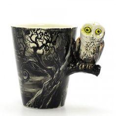 I love this mug! Nightmare Owl Mug Original Art hand paint Gifts Collectibles 0006 | madamepomm - Housewares on ArtFire