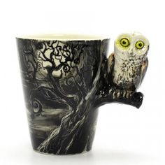 Nightmare Owl Mug 0006 Original hand sculpt and hand paint Owl Mug Ceramic Stoneware Art Handmade Home Decor Decoration Gifts Collectibles This Mug using a durable Stoneware Clay high fired at 1,25
