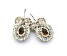 SALE - Wedding Soutache Earrings, Bridal Neutral Earrings on Etsy, $31.00
