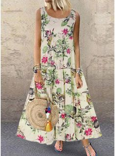 Summer Dress Women Plus Size Bohe O-Neck Floral Print Vintage Sleeveless Long Maxi Dress New Casual Ankle-Length Dress Vintage Style Dresses, Casual Dresses, Maxi Dresses, Sleeveless Dresses, Maxi Robes, Vestidos Vintage, Mode Outfits, Summer Dresses For Women, Swing Dress