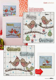 cross stitch christmas small birds Season's Cheepings