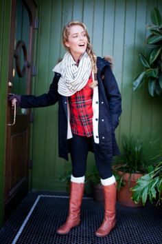 plaid jeans and boots... YESSS!! SO cute!!! Does anyone know where I can find a red plaid shirt like that? I'm a medium =)