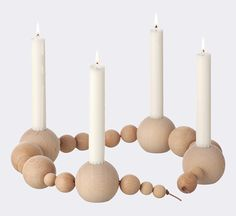 Candle Holder String by Ferm Living Chandeliers, Christmas Booth, Wit And Delight, Advent Wreath, Wood Candle Holders, Beaded Garland, Burke Decor, Decoration Design, Menorah