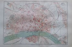 KÖLN 1895 alte Landkarte Karte Stadtplan Antique City Map Lithographie