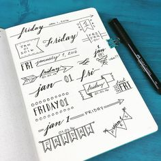 Playing around with different header styles for my #bulletjournal in 2016 ☺️
