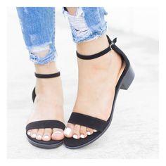 cf2d2ee984c Black Low Block Heel Sandals Block Heels Outfit