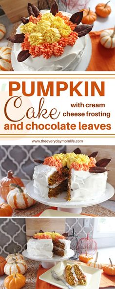Pumpkin Cake With Cream Cheese Frosting & Chocolate Leaves. Perfect fall dessert for Thanksgiving, Halloween or family dinner.