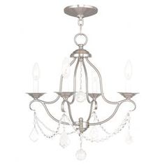 """Cast a warm glow in your dining room or master suite with this candelabra-inspired mini chandelier, showcasing draped beading and a brushed nickel finish.  Product: Mini chandelierConstruction Material: SteelColor: Brushed nickelAccommodates: (4) 60 Watt candelabra base bulbs - not includedDimensions: 18"""" H x 18"""" Diameter"""