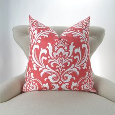Coral Throw Pillow Cover Damask Pattern ANY by DeliciousPillows