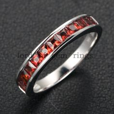 Invisible Princess Cut .85ctw Garnet 14K White Gold Engagement Wedding Band Anniversary Ring