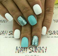 Teal and white nails Shellac Nails, Nude Nails, Nail Polish, White Nails, Teal Nails, Cute Acrylic Nails, Glitter Nail Art, Acrylic Nail Designs, Fabulous Nails