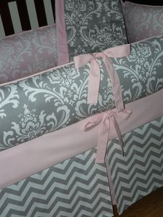Light Baby Pink , Gray , Damask , Chevron,  3pc Crib  Bedding, but I need toddler bedding
