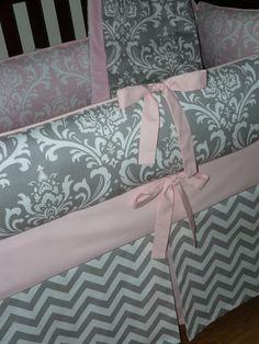 Light Baby Pink , Gray , Damask , Chevron,  3pc Crib  Bedding Set. via Etsy
