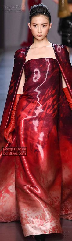 Georges Chakra Fall Winter Couture  2014-15   Contemporary Liquid Look in Dramatic Reds