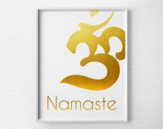 Namaste Print, Yoga Print, Faux Gold Foil, Gold Art, Gold Foil Print, Yoga Decor, Namaste Art, Yoga Poster, Gold Print, 0167