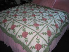 Pink Roses Crocheted Afghan Blanket. This would look so pretty in a shabby chic bedroom decor.