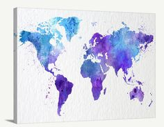 Map Art - Watercolor World Map Canvas Print , Large Light Blue World Map Urban, Watercolor Purple World Map Print, Grunge World Map