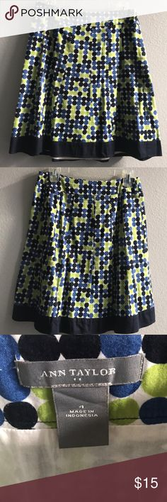 Ann Taylor A Line Skirt A Line Polka Dot Blue/Green/Navy Skirt.  In perfect condition.  Worn a couple of times. Ann Taylor Skirts A-Line or Full
