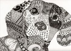 Zentangle Coloring Pages Animals Dogs