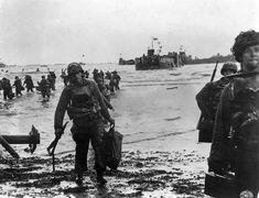 US assault troops landing on Utah Beach on D-Day