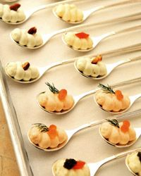 I just want ot serve something on plastic spoons.to figure out. amuse-bouches little amusing bites of cauliflower & caviar, smoked salmon, & roquefort and walnut, served on spoons. Beautiful and tasty hors d'oeuvres! Must try this on spoon collection! Kids Canopy, Pvc Canopy, Canopy Crib, Hotel Canopy, Canvas Canopy, Window Canopy, Wooden Canopy, Backyard Canopy, Canopy Bedroom