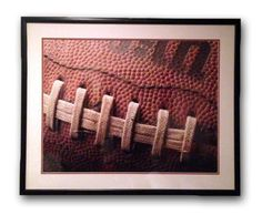"""Vintage 38"""" w x 30.5 h framed football close up print. Perfect for a man cave or boys room :) #queenbhive"""