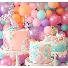 This Mermaid Theme Party Ideas got me all inspired already! If you are looking at a theme for your little girl birthday - THIS IS IT Mermaid Birthday Cakes, Mermaid Cakes, First Birthday Girl Mermaid, First Birthday Parties, First Birthdays, 5th Birthday, Best Birthday Cake, Birthday Ideas For Kids, Purple Birthday