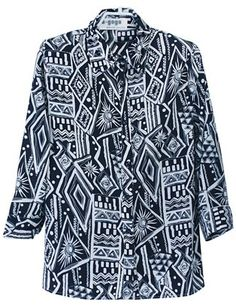 Black White Long Sleeve Geometric Print Shirt