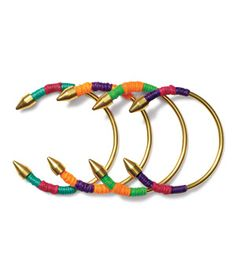 """Mukki Bracelets Got a tough-to-please """"gypsetter"""" on your list? (Gypsy + jet-setter—yes, it's a word.) These trendy, substantial pieces are a sure win. To buy: $44 each, tiklari.com."""