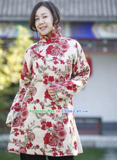 Chinese Classical Handmade Folk Floral Cotton Long Jacket for Women