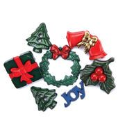 Favorite Findings Buttons-Deck The Halls 6/pk